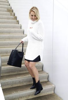 Outfit | Bare Legs and A Big Knit - Fashion Hoax | Creators of Desire - Fashion trends and style inspiration by leading fashion bloggers