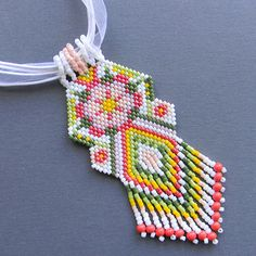 Flower Beaded Pendant   peyote necklace ethnic by Anabel27shop, #beadwork #ethnic #beadweaving
