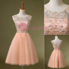 Blush Short Bridemaid Party Dresses Cocktail Formal Gown Cap Sleeve Rhinestone  #handmade #Formal