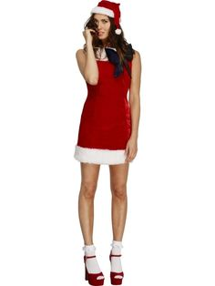 145b185f2db0 The Fever Miss Santa Cutie Costume comes with a red mini dress with white  trim and a santa hat, great for christmas fancy dress or night out.