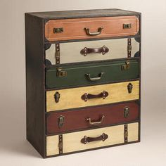 Makeover my chest of drawers. New hardware and paint job to look like suitcases