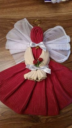 """Taking """"dish cloth angels"""" to a new level! With Norwex! Shown: Buttercream and Pomegranate Kitchen Towels Crafts, Dish Towel Crafts, Bathroom Towels, Dish Towels, Hand Towels, Christmas Towels, Christmas Crafts, Christmas Decorations, Christmas Ornaments"""