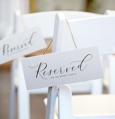 Reserved Wedding Signs, Wedding Welcome Signs, Wedding Thank You Cards, Reserved Seating Wedding, Reserved Table Signs, Simple Elegant Wedding, Cricut Wedding, Wedding Signage, Wedding Hashtag Sign