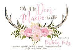 Little Deer 1st Birthday Party Invitation by INVITEDbyAudriana