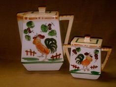 Vintage Japan Teapot & Sugar Bowl w/ Lids-Rooster & Flowers-Hand Painted