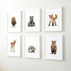 Woodland kwekerij kunst baby bos dieren set van zes door PaperLlamas