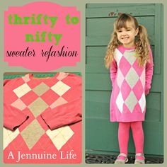 A Jennuine Life: From Thrifty to Nifty: Sweater to Dress Refashion