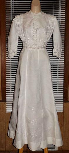 EDWARDIAN Embroidered Cotton Linen GARDEN PARTY  DRESS
