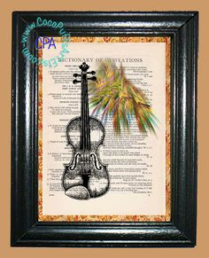 Violin with Green & Gold Lights Art - - Vintage Dictionary Book Page Art-Upcycled Page Art,Wall Art,Collage Art,Mixed Media Art by CocoPuffsArt on Etsy