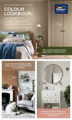 Dulux Paint Colours Neutral, Greige Paint Colors, House Color Schemes, House Colors, Interior Paint, Interior Design, Kitchen Wall Colors, Paint Shades, Bedroom Ideas