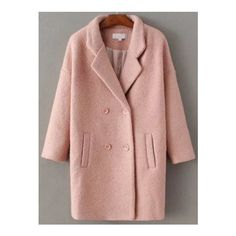 SheIn(sheinside) Pink Double Breasted Drop Shoulder Coat (€55) ❤ liked on Polyvore featuring outerwear, coats, pink, drop shoulder coat, brown coat, brown double breasted coat, double breasted coat and knee length coat