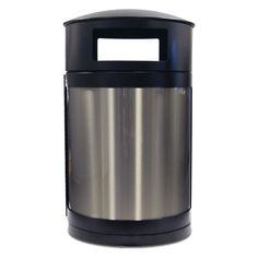 55 Gallon Trash Receptacle with Stainless Steel Side Panels   Trash Receptacles   Upbeat.com