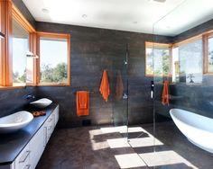 Modern Bathroom with Black Stone Walls