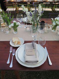 Country style Wedding Reception #lavander and wild flower arrangements