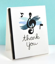 Thank you card by Kara for Paper Smooches - Music Notes die