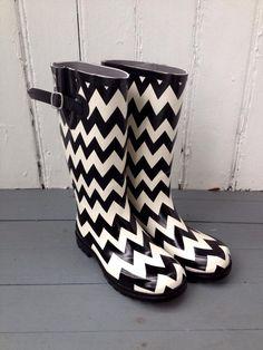 Fleurty Girl - Everything New Orleans - Black & White Chevron Rain Boots, $48.95.
