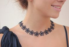 Handmade tatted necklace made of deep navy blue thread - a delicate flower lace accessory