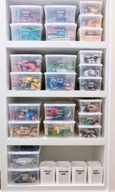 Games and toys work perfectly in stackable clear storage bins. They optimize you. Games and toys work perfectly in stackable clear storage bins. They optimize your shelves, and are Toy Closet Organization, Organization Hacks, Toddler Room Organization, Kids Craft Storage, Storage Bins, Storage Hacks, Playroom Closet, Small Playroom, Clear Bins