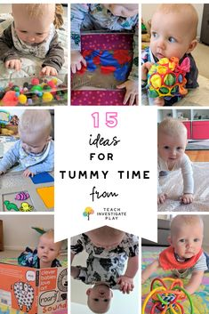 Do you struggle with tummy time activities for your baby? Here are 15 simple ideas to try. Visit the website for more details. activities 15 ideas for tummy time 3 Months Baby Activities, Newborn Activities, Toddler Activities, Time Activities, Montessori Toddler, Diy Baby Toys 3 Months, Diy Toys For Babies, Family Activities, Baby Sensory Play