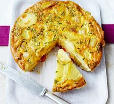 Spanish omelette  500g waxy potato , such as Charlotte knob of butter 2 small onions , finely sliced 1 red pepper, finely chopped 8-9 eggs 1 x 25g pack chives