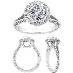 Double Diamond Halo Split band Engagement Ring