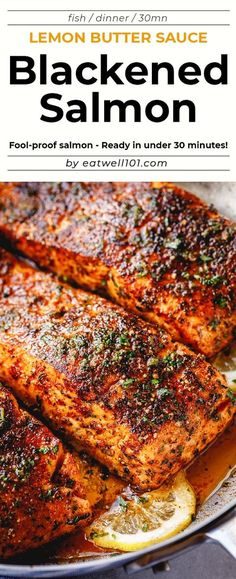 Blackened Salmon with Lemon Butter Sauce - - Blackened Salmon with Lemon Butter Sauce – Perfectly seasoned, flaky, and super easy to make, this delicious blackened salmon recipe is fool-proof and ready in under 30 minutes. Fish Dinner, Seafood Dinner, Seafood Meals, Fish And Seafood, Blackened Salmon, Lemon Butter Sauce, Baked Salmon Recipes, Skin On Salmon Recipes, Delicious Salmon Recipes