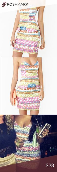 Nasty Gal Peplum Dress Worn once, size XS. Great stretchy material! Multi colored design 👗 Dresses
