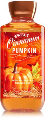 "my by far favorite bath and body works fall scent, ""Sweet Cinnamon Pumpkin"", smells like cinnamon and walking through a pumpkin patch! the shower gel works great!"