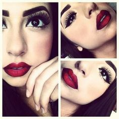 Dark eye makeup dark red Lips