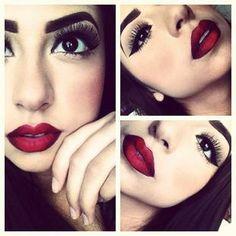 Dark eye makeup dark red Lips