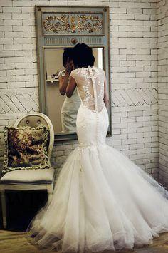 Custom Vintage Cap Sweetheart Neckline Mermaid Lace Tulle Wedding dress S514. $468.00, via Etsy.