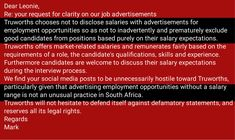 Click to read my response to Mark from Truworths where you're worth less. Job Advertisement, Advertising, Employment Opportunities, No Response, Periodic Table, Positivity, Marketing, Reading, Periodic Table Chart