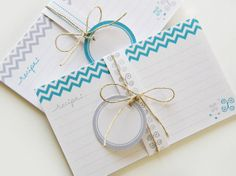 Printable and Editable Recipe Cards and Matching Gift Tags (PDF 3x5 or 4x6 double sided) - BLUE Chevron via Etsy