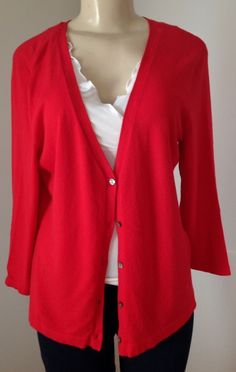 Chico's Red Cardigan Sweater Sz 1 (Small) button down Rayon Blend 3/4 Sleeve GUC | eBay