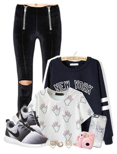 """Models And Bottles"" by nemes-margareta-anna ❤ liked on Polyvore featuring NIKE, Boohoo, women's clothing, women's fashion, women, female, woman, misses and juniors"