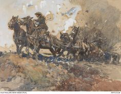 War. H Septimus Power has depicted the 1st Australian Division Artillery battery crossing open ground, shells exploding nearby. The horses are wearing standard 1912 harness, with improvised shadow rolls on bridles. This was during the Third Battle of Ypres at Passchendaele. 1917