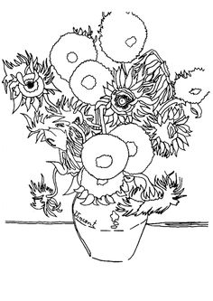 Sunflowers By Vincent Van Gogh coloring page van Gogh Vincent