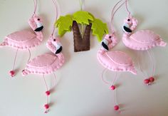 Flamingos Baby Crib Mobile with music box by twinsandcrafts