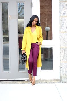 Mustard yellow duster + mustard tee + Berry pants (I have sz OR berry dress (I have sz + leopard pumps // Prissysavvy Burgundy Pants Outfit, Purple Outfits, Chic Outfits, Fashion Outfits, Business Casual Outfits, Professional Outfits, Mustard Yellow Outfit, Yellow Coat, Summer Pants Outfits