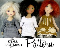 NEW Little Cloth Girls PDF Pattern and Tutorial by DollProject, $25.00