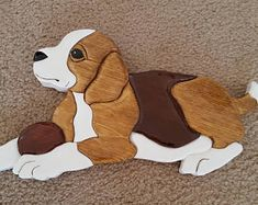 Intarsia Beagle Dog made from solid pine wood, ready for hanging Intarsia Woodworking, Woodworking Patterns, Woodworking Projects, Intarsia Wood Patterns, Mosaic Animals, Beagle Puppy, Scroll Saw Patterns, Solid Pine, Hanging Wall Art