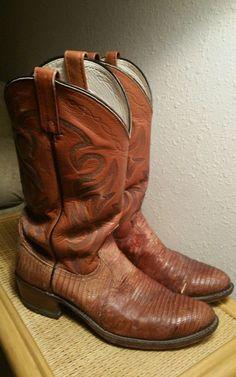 Men's Dan Post Brown Lizard Skin Leather Shaft Western Cowboy Boots 9.5 D  #DanPost #CowboyWestern