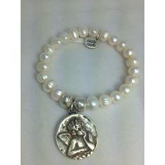 Pulsera perlas con medalla de una angel de Cuchi cuchi/Pulsera acero www.relojesplatayacero.com