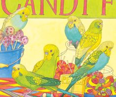 Budgerigars, self-inititated illustration © Emma Cowley all rights reserved