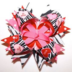 """4"""" Personalized Valentine's Day Zebra Sweet Tarts Polka Dots Red Pink Stacked Hair Bow"""