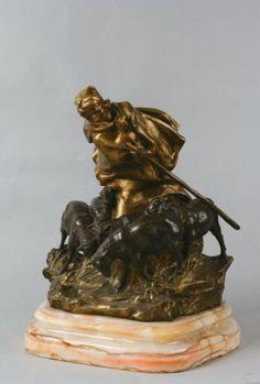 Ars Nouveau Bronzes Charles (Karl) Korschann (Czech 1872-1943) working in France Dore' bronze Bergère aux moutons Epreuve ...