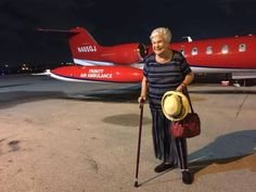 Margarita Berga de Lema in San Juan before she boarded an air ambulance bound for Miami on Oct. 4. She rode to the airport in an Uber that her friend's daughter booked for her in Fort Lauderdale.