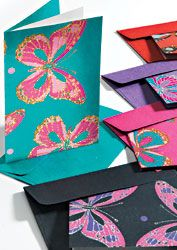 Printed handmade paper greeting card, butterfly