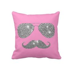 Cute. Shades & Moustache pillow