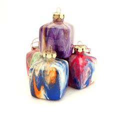 Glass Cube Ornaments Painted Inside by creationsbyjdb
